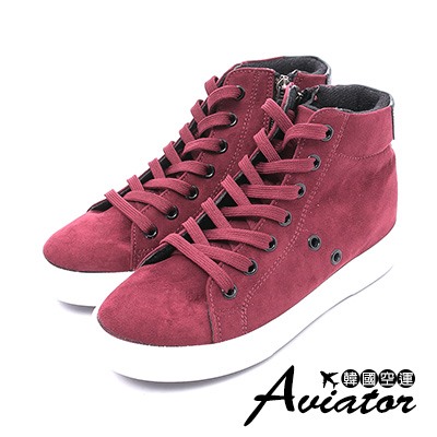 Aviator*韓國空運-素面絨質拼接皮革綁帶增高鞋-紅