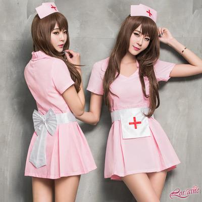 護士服 甜美粉紅護士角色扮演服三件組(粉紅F) Lorraine