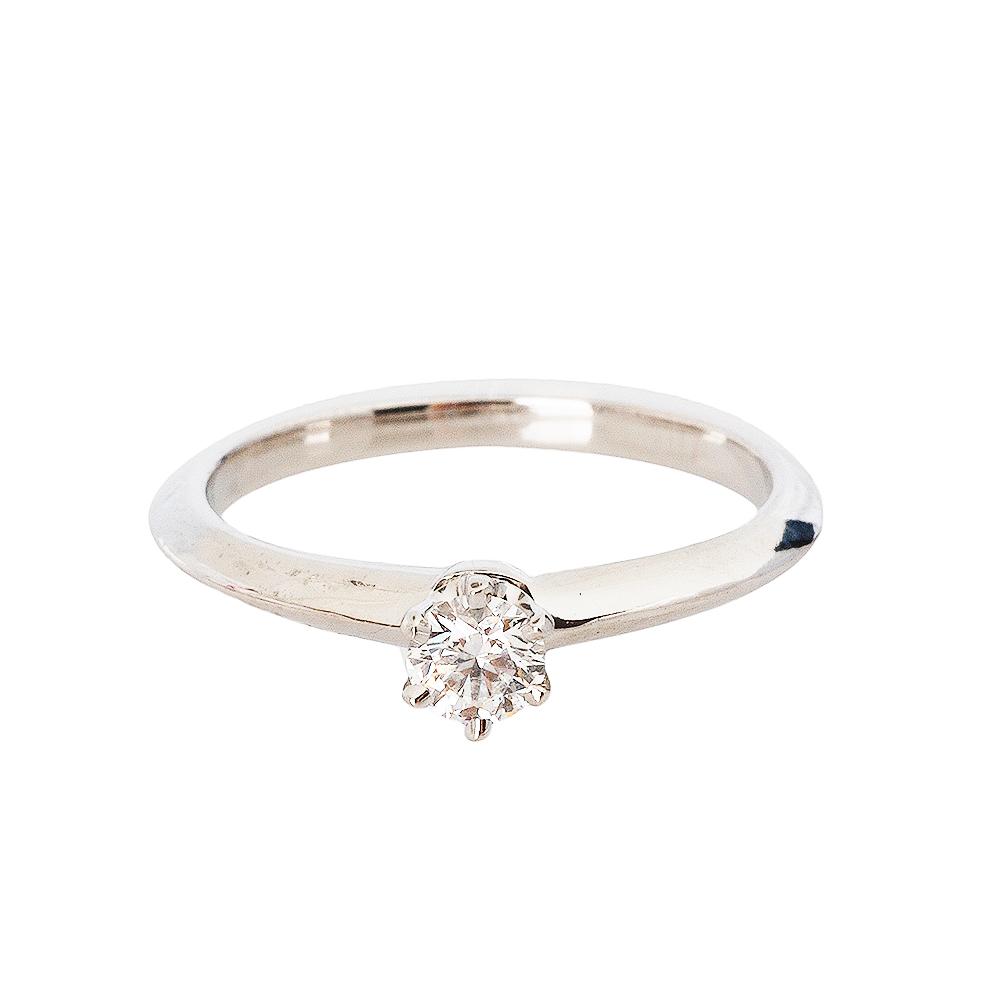 Tiffany&Co.PT950圓型六爪0.20克拉鑽石戒指10