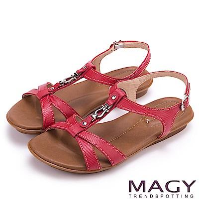 MAGY 經典剪裁 牛皮蜥蜴壓紋平底涼鞋-紅色