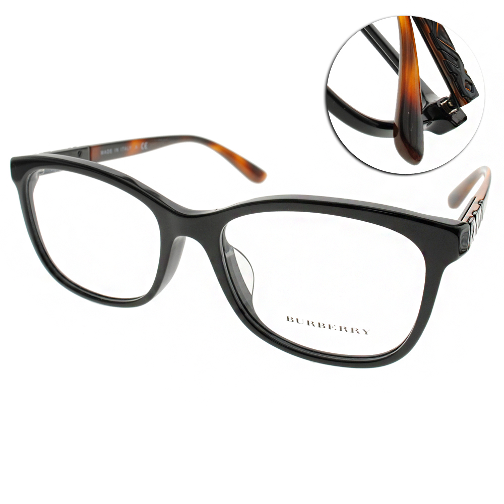 BURBERRY眼鏡 英倫經典/黑-琥珀#BU2242F 3001