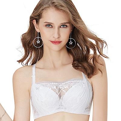 思薇爾 都繪感系列B-D罩1/2罩抹胸蕾絲刺繡包覆內衣(奶油色)