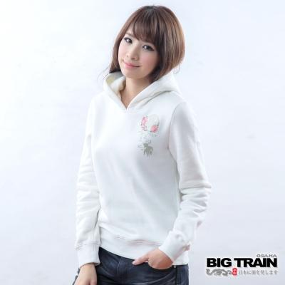 BIG TRAIN 女款 金魚墨達人連帽TEE-白
