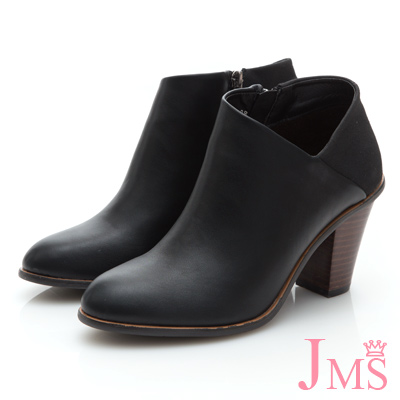 JMS-韓版拼接性感側斜V領踝靴-黑色