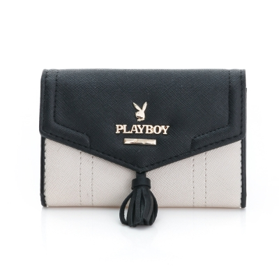 PLAYBOY- Grace 優雅宣言系列 名片夾-氣質米白