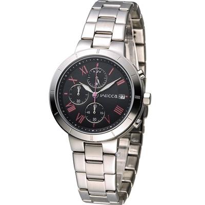 WICCA 甜美繽紛俏麗腕錶(BM2-217-51)-黑x粉紅/35mm