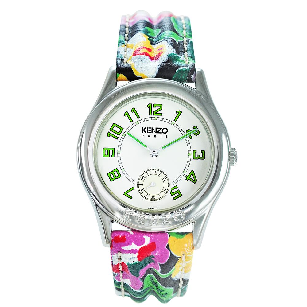KENZO 艷麗四射之花樣年華腕錶-樹葉綠刻度/33mm(福利品)