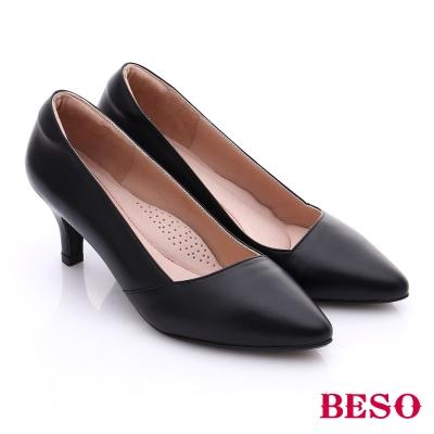 BESO-都會摩登女郎-真皮斜口素面高跟鞋-黑色