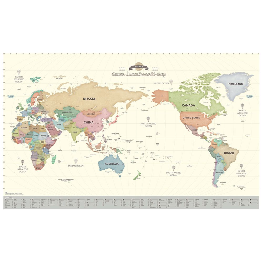 Indimap 環遊世界世界地圖海報(改版-雙層)-02粉彩版