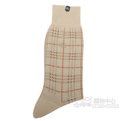 BURBERRY 毛料格紋刺繡戰馬LOGO紳士襪-卡其/橘色