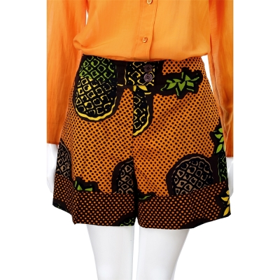 MOSCHINO 黑橘色波卡圓點鳳梨印花短褲