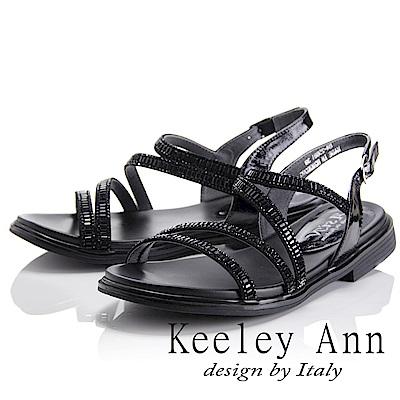 Keeley Ann 極簡步調~流線型方塊鑽真皮涼鞋(黑色-Asin系列)