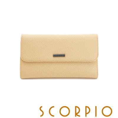 SCORPIO 類真皮超纖系列零錢夾層設計長夾 - 鵝黃色