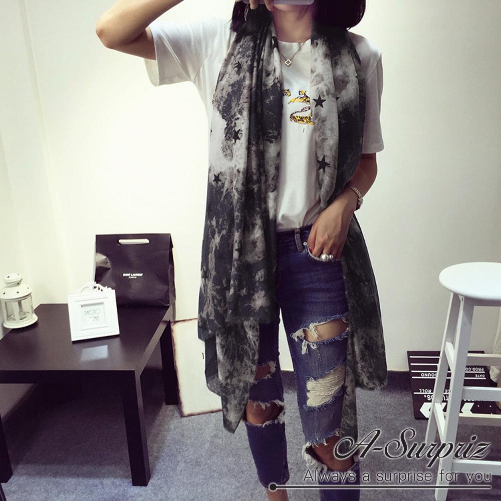 A-Surpriz 迷幻星漾加大加寬韓國棉圍巾(深卡其)