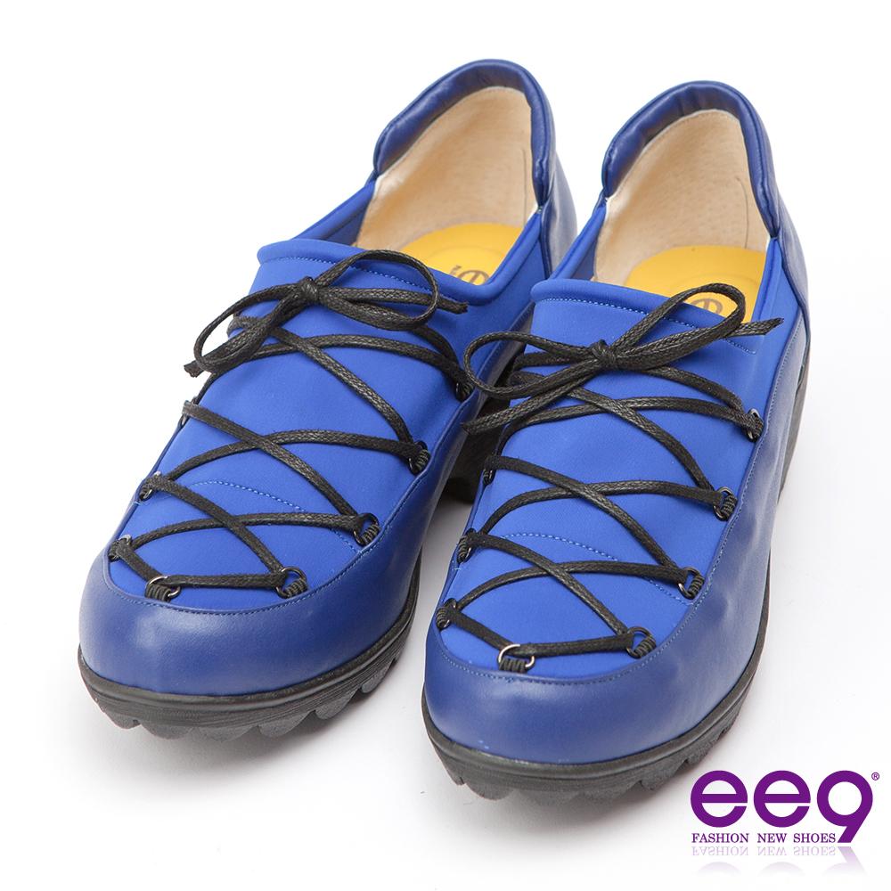 ee9 MIT經典手工~率性風格靚亮異材質併接繫帶休閒跟鞋-藍色