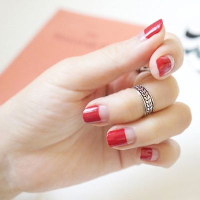 梨花HaNA-925銀復古泰銀葉片圍繞開口戒指中性