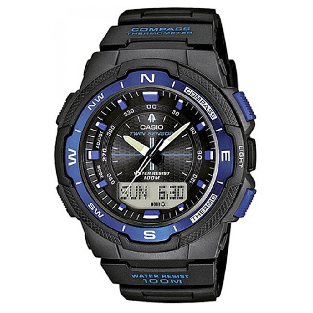 CASIO 輕巧登山王者風範戶外運動雙顯錶(SGW-500H-2B)-黑x藍框/46.8mm