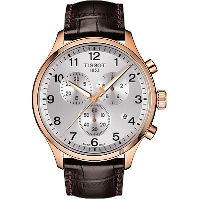 TISSOT天梭 韻馳系列 Chrono XL計時手錶-銀x玫塊金框x咖啡錶帶/45mm