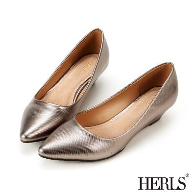 HERLS-內真皮典雅楔型跟鞋-銀色