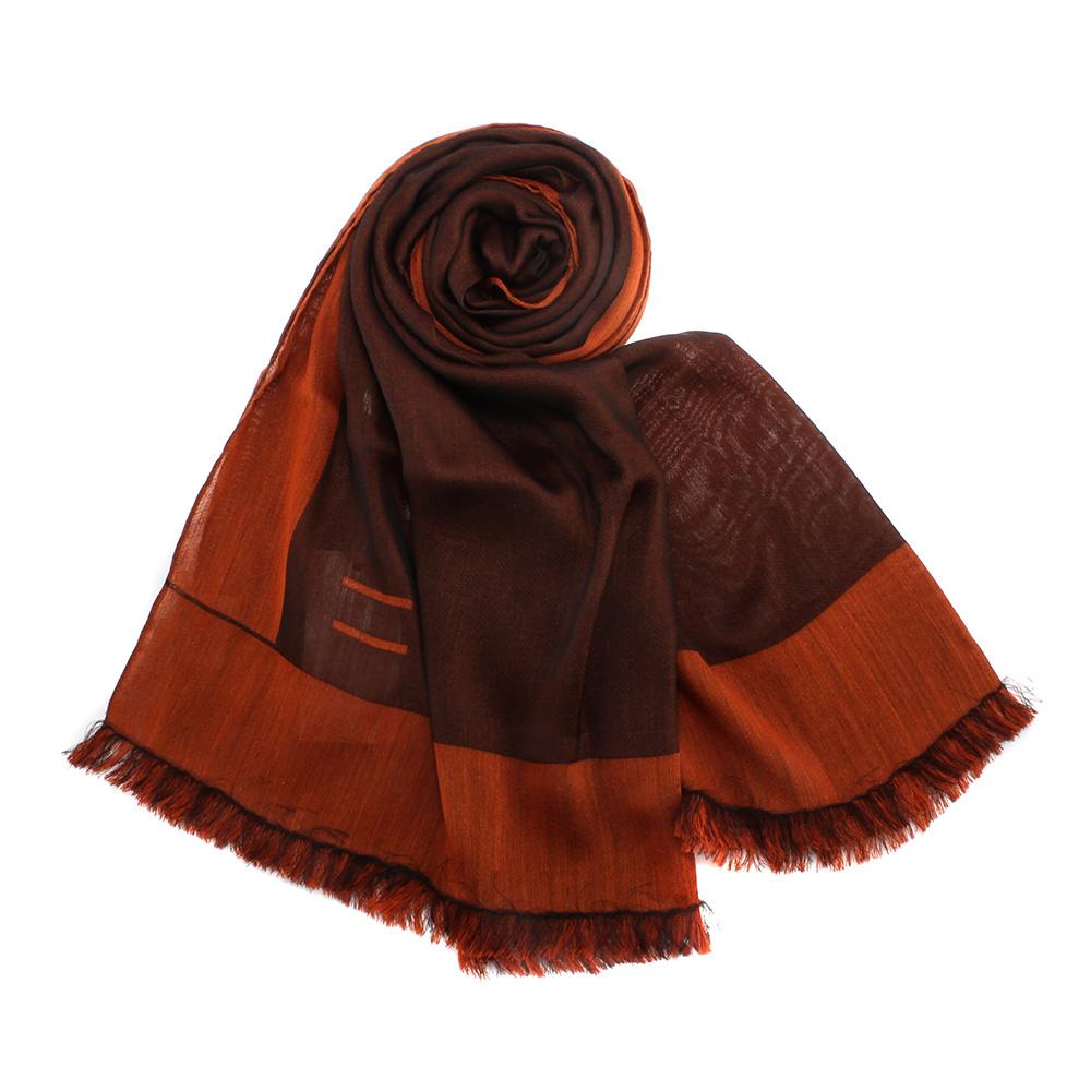 ARMANI COLLEZIONI 素面撞色混桑蠶絲披肩圍巾-咖啡/紅