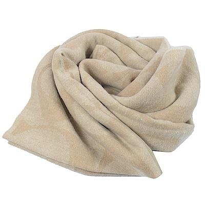 COACH 大LOGO圖樣經典羊毛圍巾(米)