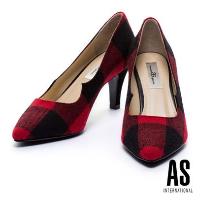 高跟鞋 AS 經典英倫格紋毛呢布高跟鞋 - 紅