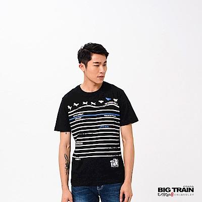 BIG TRAIN 招福犬印條圓領短袖-男-黑色