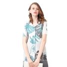 清新水彩印花短袖襯衫壓摺上衣-玩美衣櫃
