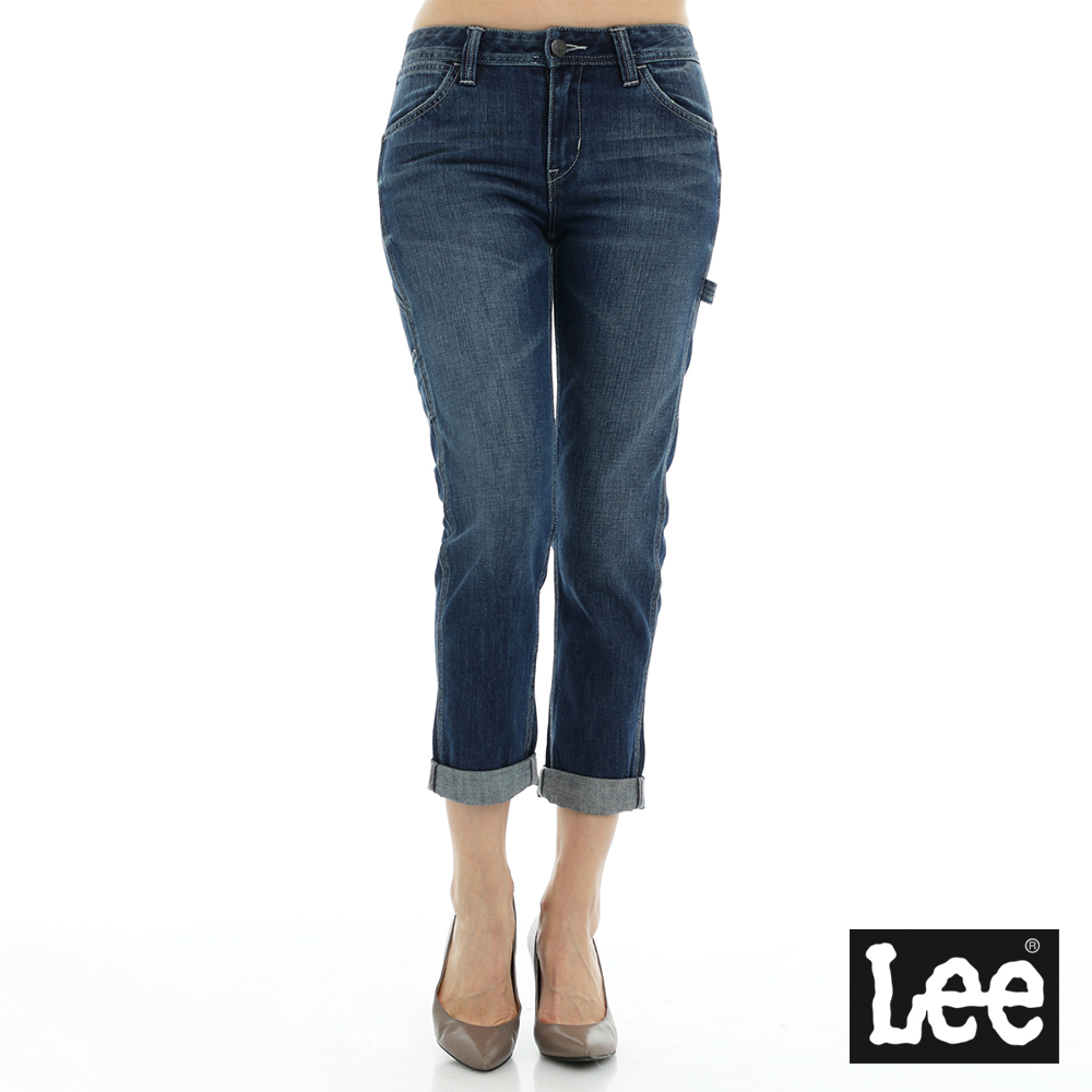 Lee 牛仔褲401中腰標準合身小直筒牛仔褲/RG-女款-藍