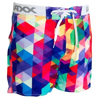 WAXX 彩色方塊拼接高質感吸濕排汗運動海灘短褲