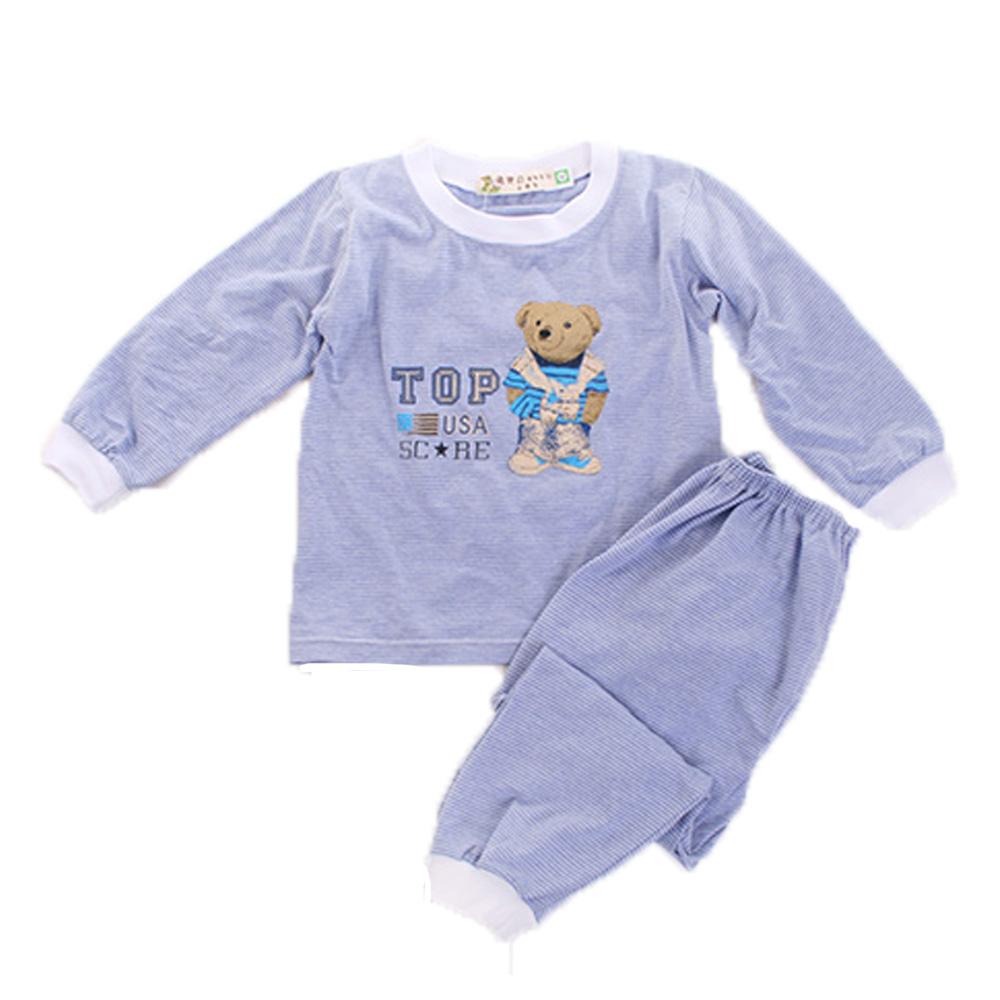 薄長袖居家套裝-藍條紋 k60087