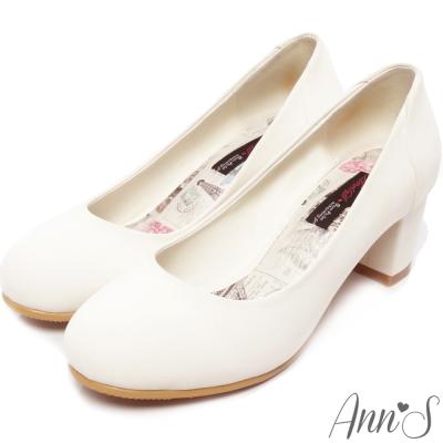 Ann'S柔美氣質-細柔觸感巴黎粗跟包鞋 白