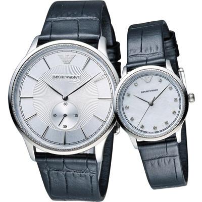 EMPORIO ARMANI  獨一無二經典對錶-白/41+36mm