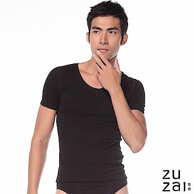 zuzai 自在親膚羽感短袖保暖衣-男-黑色
