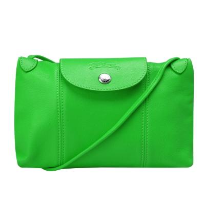 LONGCHAMP LE PLIAGE CUIR小羊皮手提/斜背包(亮綠色)