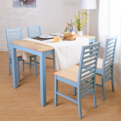 Bernice-貝莉鄉村風實木餐桌椅組(1桌4椅)