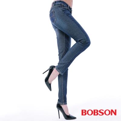 BOBSON 女款低腰異素材小直筒褲