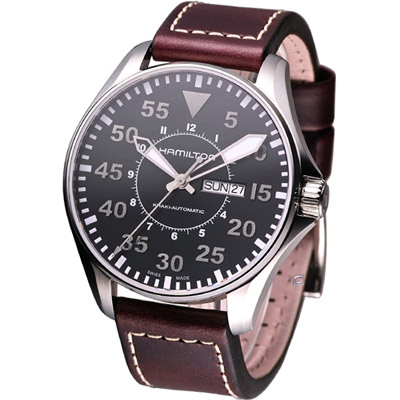 HAMILTON Khaki Pilot 航空飛行自動機械腕錶-黑/46mm