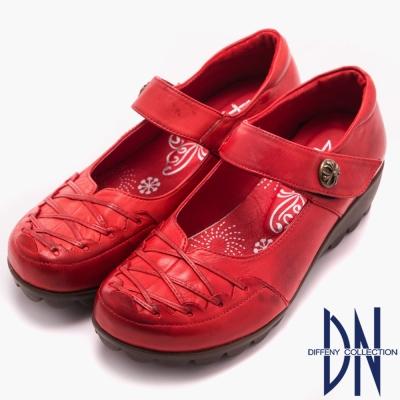 DN 樂活通勤 MIT全真皮繫帶楔型休閒鞋 紅