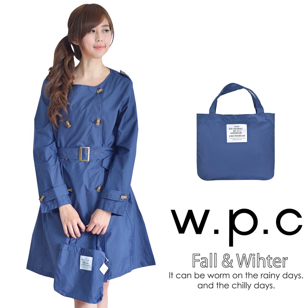 【w.p.c.】雙排釦款。時尚雨衣/風衣(R1019)_深藍素面