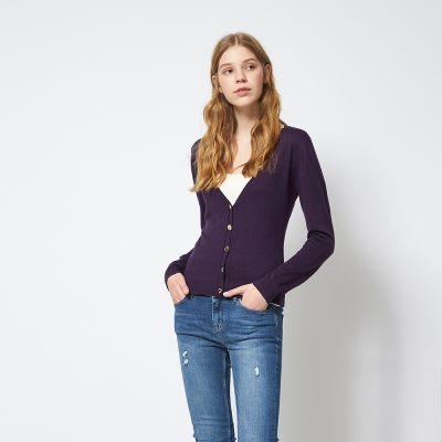 Chaber巧帛 簡約純色素面好感度UP針織紫外套
