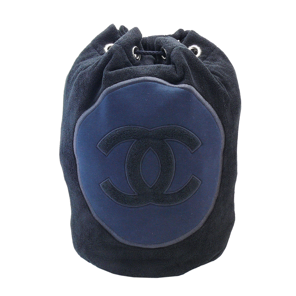 CHANEL 經典雙C LOGO刺繡棉質毛巾組合(黑)
