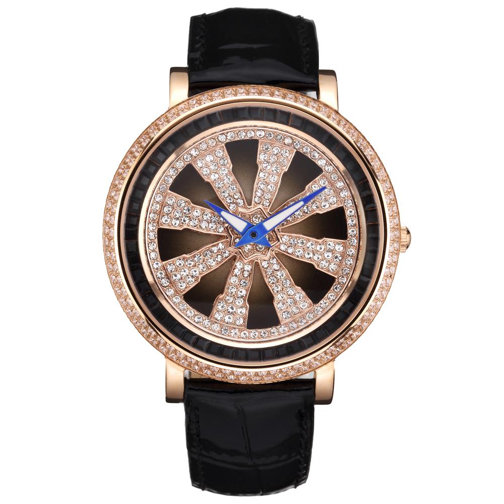 Elida 時來運轉系列生命法輪晶鑽腕錶-黑色x玫瑰金/46mm