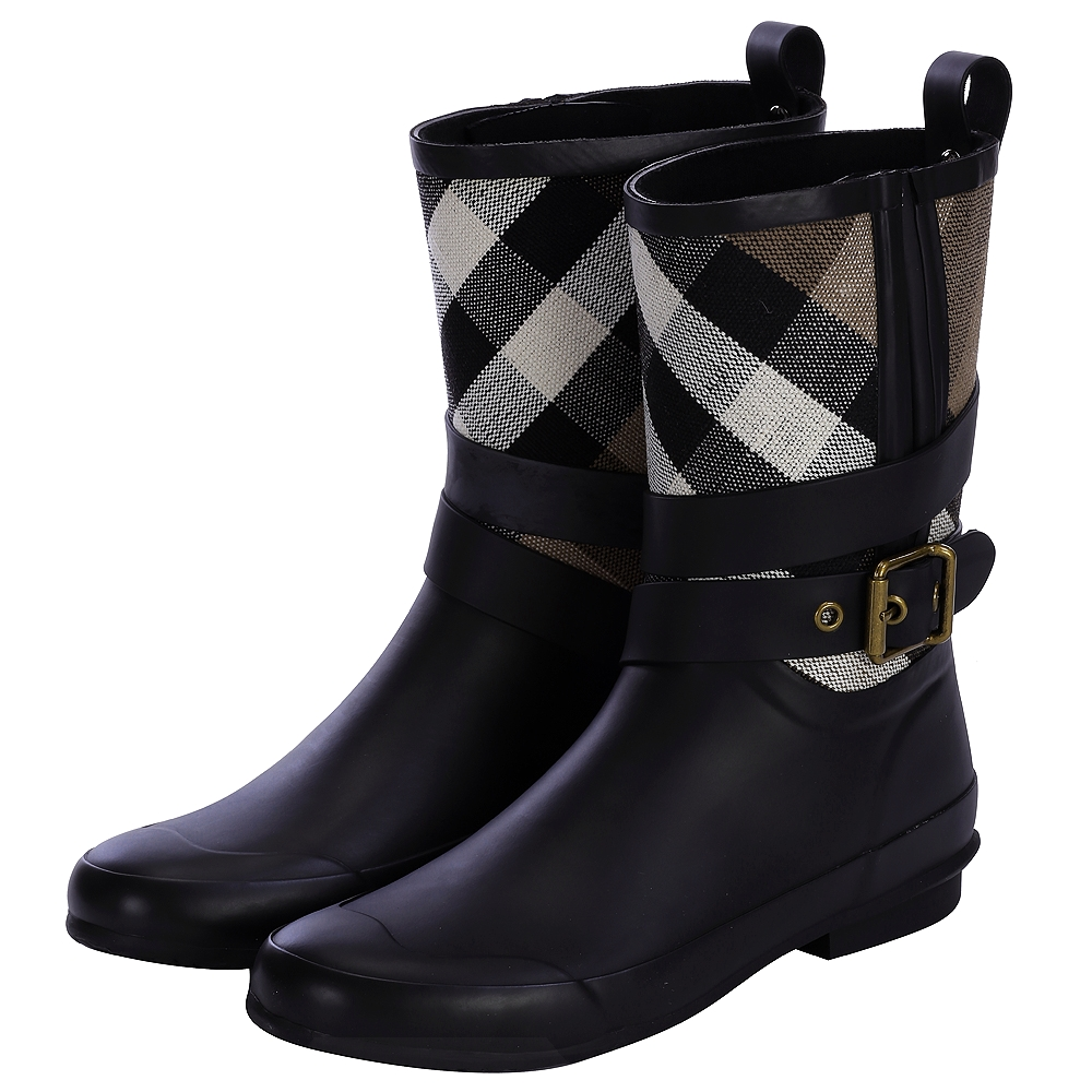 BURBERRY 格紋細節設計釦環雨靴(黑色)