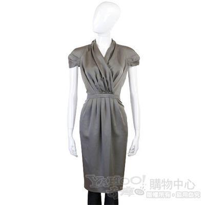 MOSCHINO 銀灰色抓折短袖洋裝洋裝