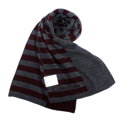 Calvin Klein CK 學院風格條紋針織圍巾-深紅色