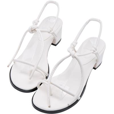 AIR SPACE 繞趾綁帶低跟涼鞋(白)