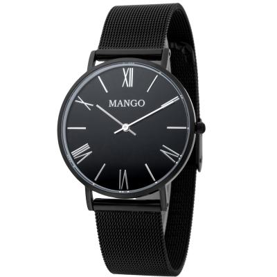 MANGO 羅馬數字米蘭錶帶時尚腕錶-黑/黑-34mm