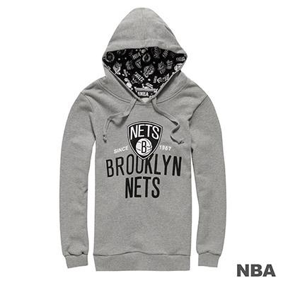 NBA-布魯克林籃網隊大圖印花連帽長袖厚T恤-麻灰-女