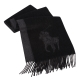 RALPH LAUREN POLO 經典大馬LOGO雙色羊毛圍巾-黑色 product thumbnail 1